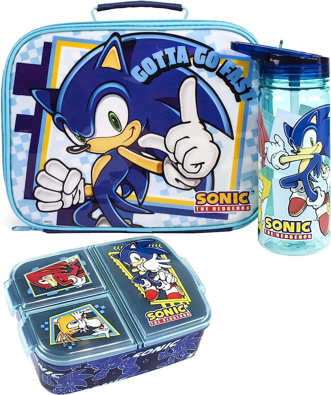 Sonic the hedgehog almuerzo conjunto niños (bolsa, botella de agua, bocadillo) Un tamaño