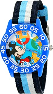 Disney Kids' W001945 Mickey Mouse Analog Blue Watch With Striped Nylon Band