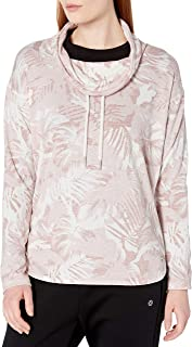 CALVIN KLEIN Women's Camo Tropical Print Cowl Neck Top