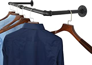 AddGrace Industrial Iron Pipe Clothing Garment Rack Wall Mounted Closet Rod Retail Display Rack Closet Storage Clothes Organizer Black