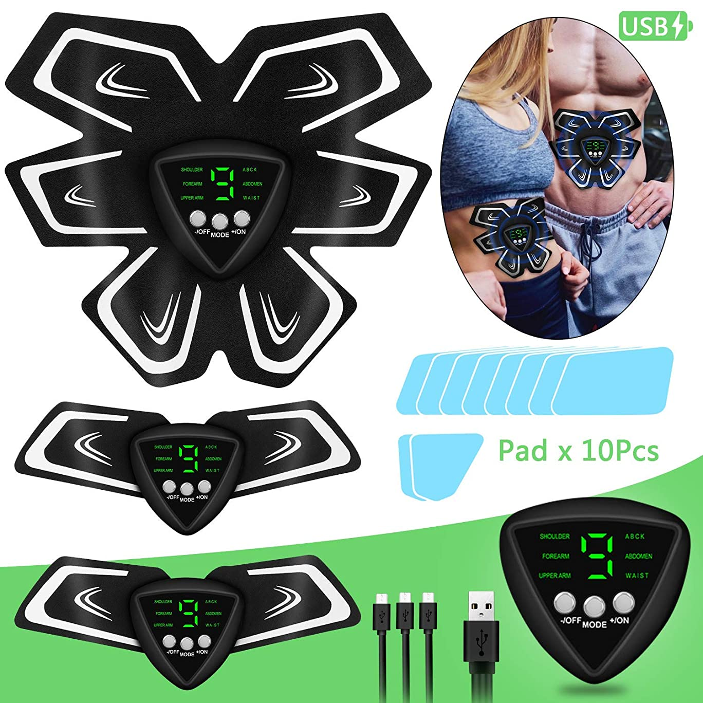 振動腹部ベルト電気刺激、筋肉刺激装置、男性と女性のための電気刺激装置マッスルマッサージャーEMS、腕/脚/臀部/背中、USB充電式