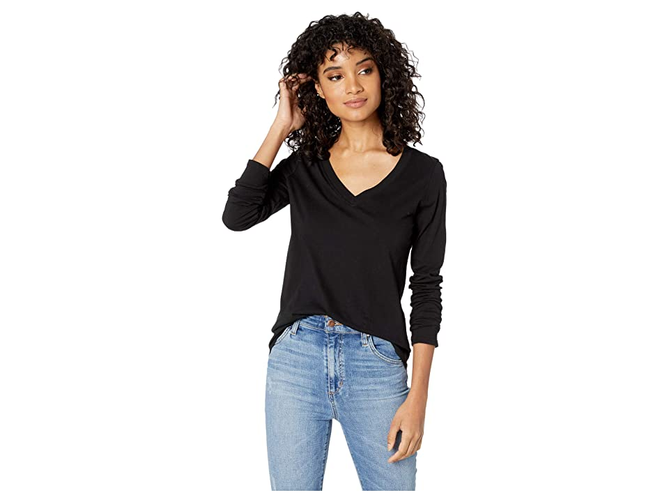 LAmade Long Sleeve V-Neck in Tissue Jersey (Black) Women's Long Sleeve Pullover