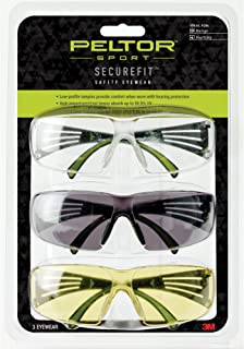 Peltor Sport SecureFit 400 Glasses, 3 Pack: Clear + Amber + Gray Lenses, Anti Fog