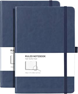 """RETTACY Lined Journal Notebook Hardcover 2 Pack - A5 College Ruled Writing Notebook with 376 Numtered Pages، 100gsm Thick Paper 5.75 """"× 8.38"""""""