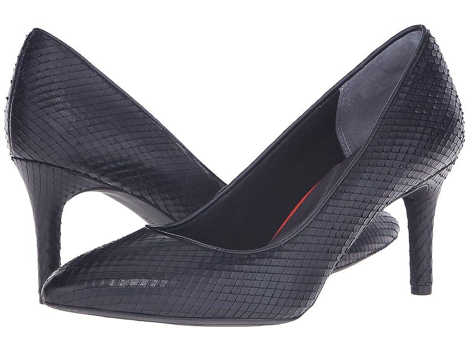 Rockport Total Motion 75mm Pointy Toe Pump (Black Diamond Snake) High Heels