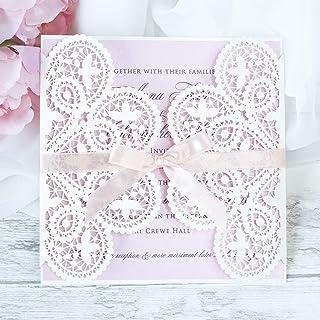 50 CARTE CONFEZIONE Carta bianco opaco con busta partecipazioni matrimonio taglio laser fai da te inviti matrimonio