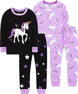 Little Girls Pajamas Baby Children Horse Pyjamas 100% Cotton Pink Toddler Sleepwear