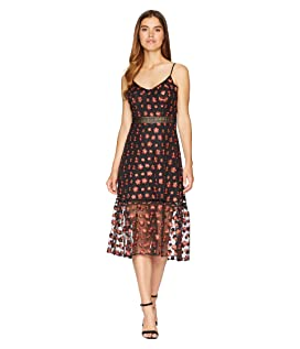 Magic Hour Embroidered Mesh Dress with Ribbon Trim