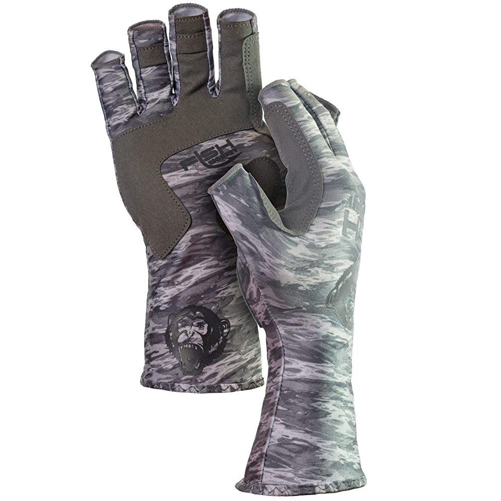 Fish Monkey UPF 50 Sun Protection Half Finger Guide Glove, Grey Water Camo, 2XL