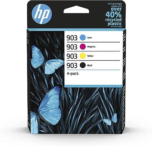 HP 903 Pack de 4 Cartouches d'Encre Noire, Cyan, Magenta, Jaune Authentiques (6ZC73AE) pour HP OfficeJet 6950, HP Off...
