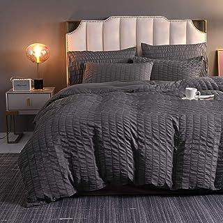 BMKJ Parure de lit 3 pièces en seersucker en microfibre avec housse de couette et 2 taies d'oreiller (PS4,2 50 x 70 cm)