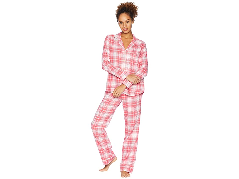 UGG Raven Woven Sleepwear Set Flannel Gift (Claret Red Plaid) Women