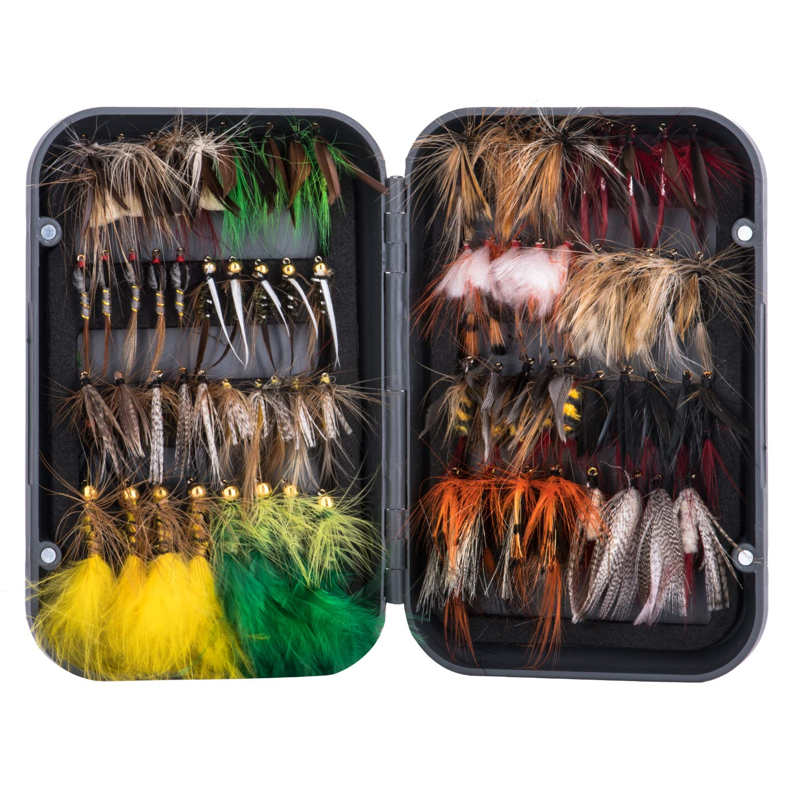 Goture Fly Fishing Flies Kit - 76pcs/100pcs Fly Fishing Lures with Fly Fishing Box - Fly Fishing Assortment Kit for Bass Trout Salmon Fishing - Dry Flies Wet Flies Streamers Nymphs