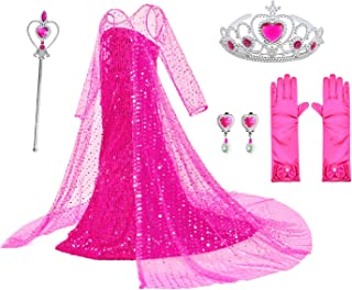 Luxury Princess Dress for Elsa Costumes with Shining Long Cap Girls Birthday Party 2-10 Years