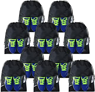 Black Travel Accessories Shoe Bags 10 Pack with Drawstring Strudy Portable Water-resistant Shoe Packing Bags for Travel Gym Sports Storage