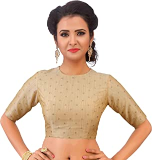 851caa03823a1a Studio Shringaar Women's Poly Silk Brocade Readymade Jewel Neck and Elbow  Length Sleeves Saree Blouse