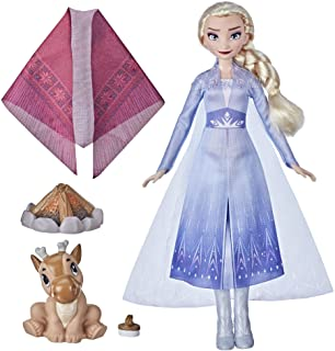 Disney Frozen 2 Elsa's Campfire Friend, Elsa Doll with Dress and Long Blonde Hair, Baby Reindeer, Fashion Doll Accessories...