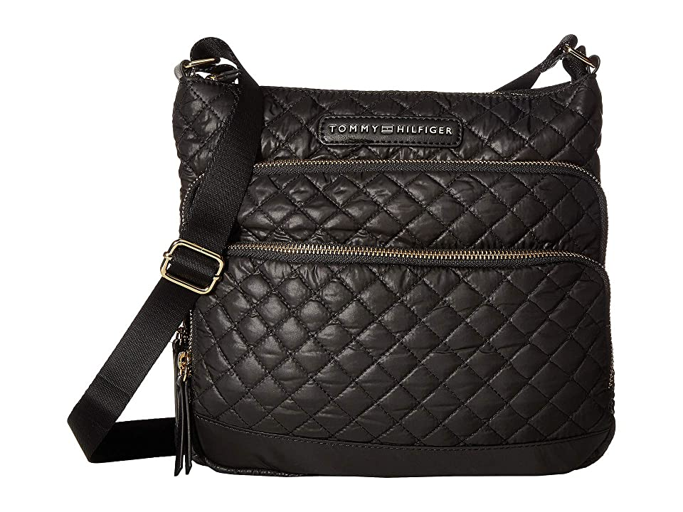 Tommy Hilfiger Alva Large North/South Crossbody Quilted Nylon (Black) Cross Body Handbags