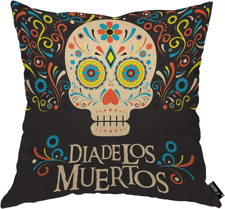 EKOBLA Skull Throw Pillow Cover Dia De Los Muertos Day of The Dead Mexico Ethnic Floral Skeleton Cozy Square Cushion Case for Men Women Boys Girls Room Home Decor Cotton Linen 18x18 Inch