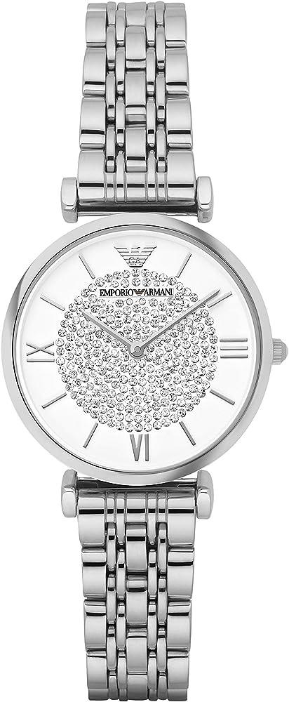 Emporio armani, orologio analogico al quarzo per donna, in acciaio e quadrande con glitter AR1925