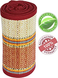 WEEKEND SALE - SouvNear Multipurpose Straw Floor Mat - Eco-Friendly Folding Extra Long and Wide - 3 x 6 Feet - Red-White-Green