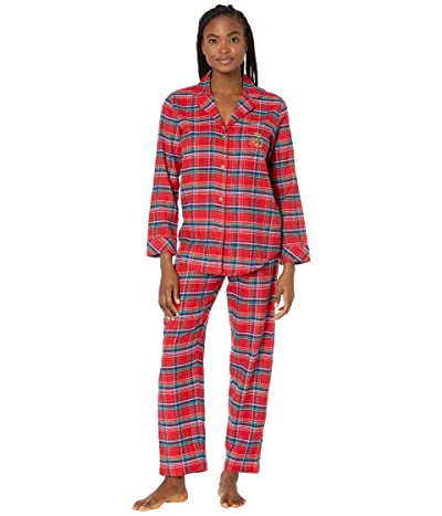 LAUREN Ralph Lauren Brushed Twill Long Sleeve Notch Collar Long Pants Pajama Set (Red Plaid) Women