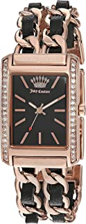 Juicy Couture Black Babel Women's Swarovski Crystal Accented Rose Gold-Tone and Black Leather Chain Bracelet Watch, JC/1196BKRG