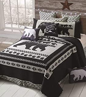 Virah Bella 3 Piece Moon Bear Quilt Set - Mountain Cabin Southwestern (Black, King)