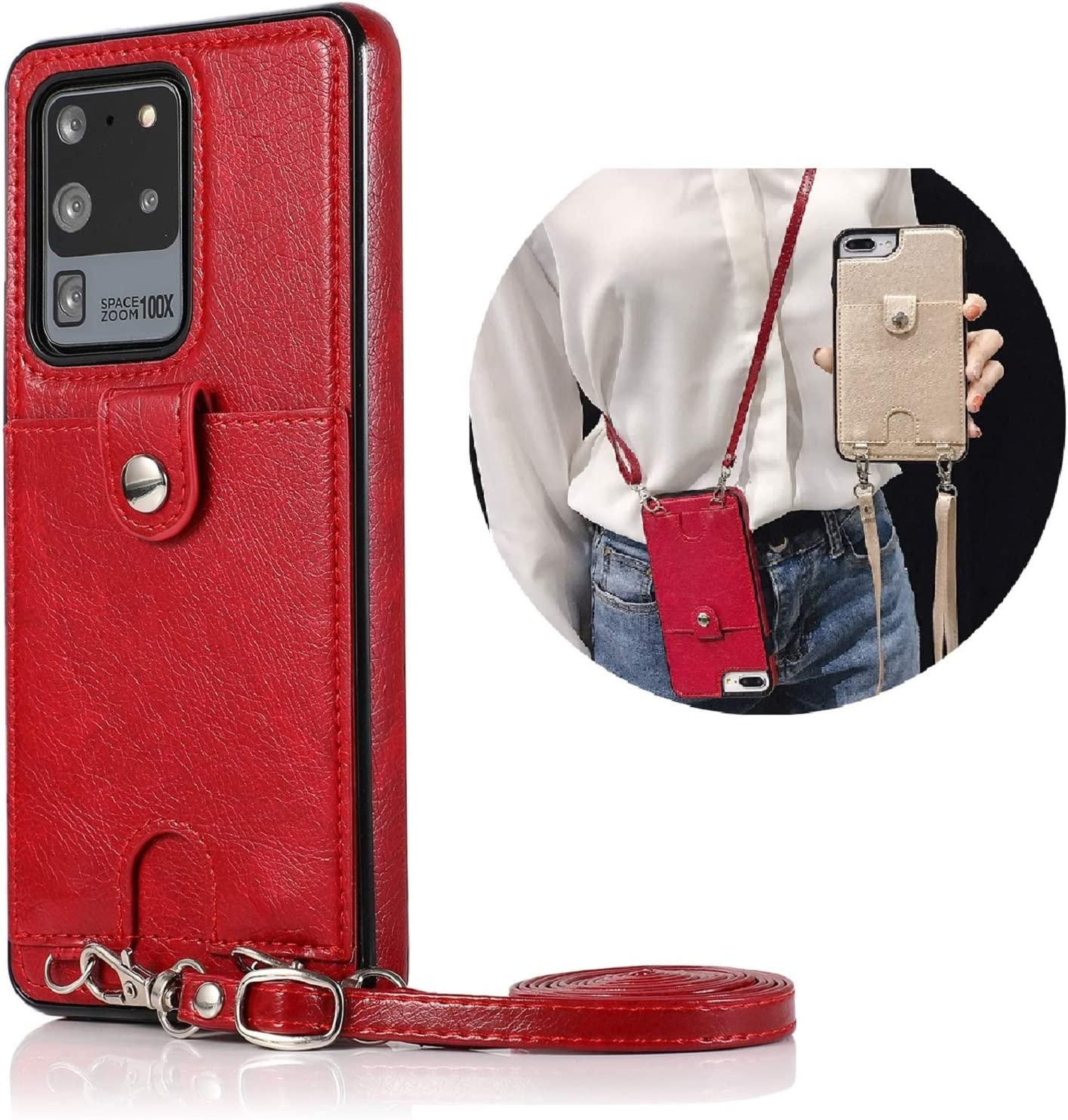 Jaorty PU Leather Wallet Case for Samsung Galaxy S20 Ultra Necklace Crossbody Lanyard Case Cover with Card Holder Adjustable Detachable Anti-Lost Neck Strap Case for Samsung Galaxy S20 Ultra,6.9