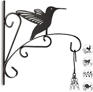 Relaxdays, Negro macetas pájaro, Gancho de Pared para