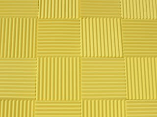 "Soundproofing Acoustic Studio Foam - Yellow Color - Wedge Style Panels 12""x12""x1"" Tiles - 6 Pack"