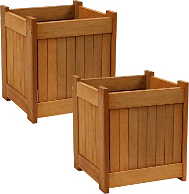 Sunnydaze Meranti Wood Outdoor Planter Box with Teak Oil Finish - Square Wooden Flower and Herb Pot for Garden, Porch and Patio - Outside Plant and Vegetable Container - 16-Inch - Set of 2