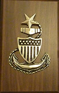 US Coast Guard Military Solid Brass Senior Chief E8 Anchor Emblem on Plaque 7 x 11