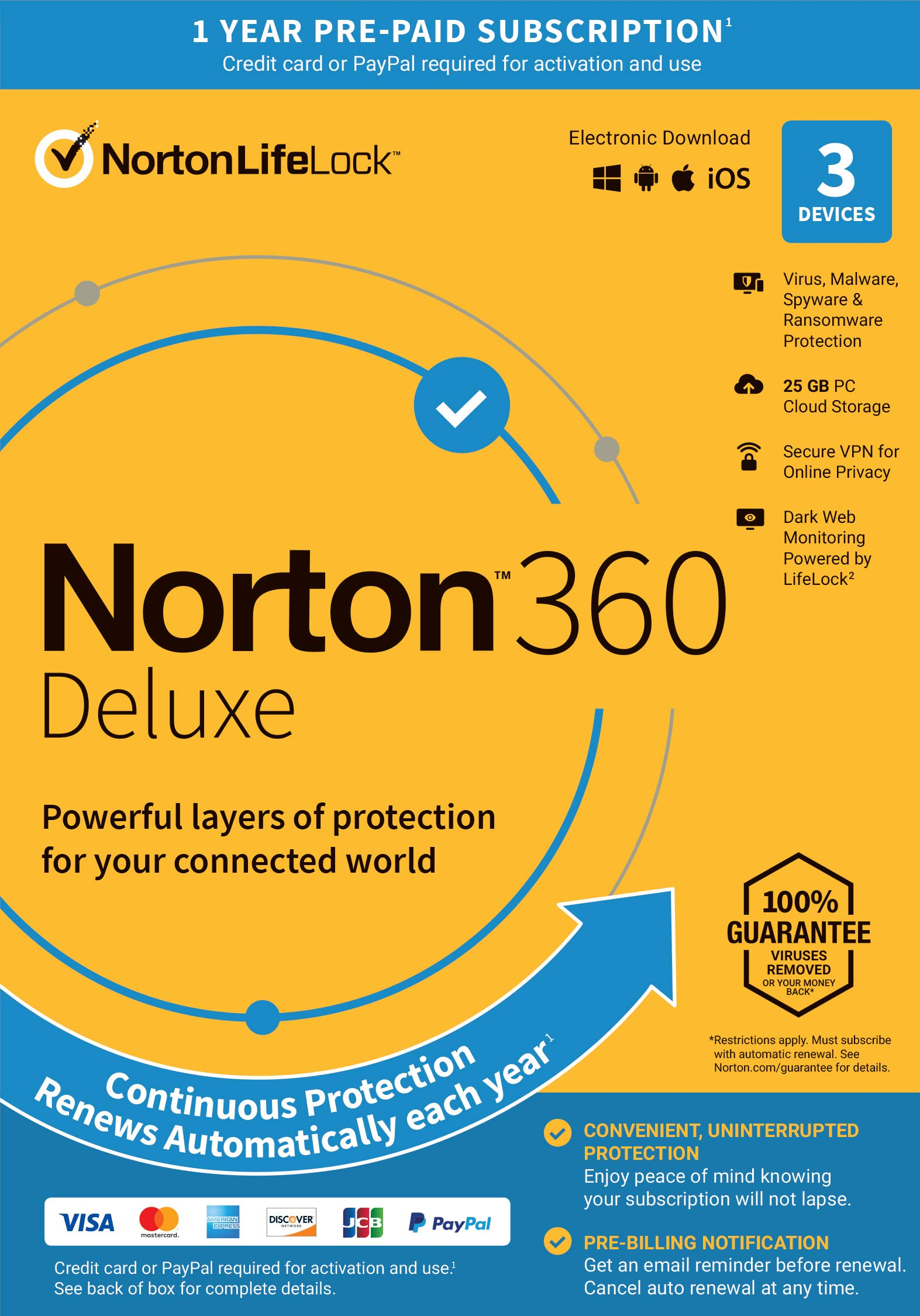 Norton 360 Deluxe  Antivirus software for 3 Devices with Auto Renewal - Includes VPN, PC Cloud Backup & Dark Web Monitoring powered by LifeLock [Key Card]