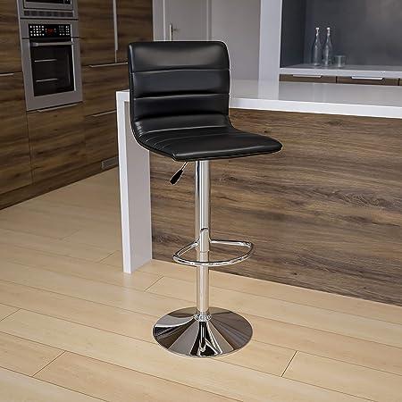 Flash Furniture Ch 92023 1 Bk Gg Modern Black Vinyl Adjustable Bar Back Counter Height Swivel Stool With Chrome Pedestal Base 1 Pack Furniture Decor