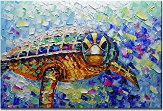 SHUAIDI Oil Hand Paintings Modern Gradient Color 3D Animals Canvas Wall Art Abstract Artwork Animal Sea Turtle on Canvas Wall Art Ready to Hang for Living Room Bedroom Wall Decor (SD011, 24x36inch)