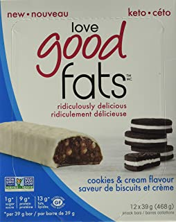 LOVE GOOD FATS Cookies and Cream Flavour Bar 12 Count, 39 g