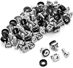 deleyCON 50x M6 Cage Nuts Screw Set for Network Cabinets - Patch Panel Racks Server Casing Housing 19-Inch 10-Inch Fitting Kit Steel - Silver