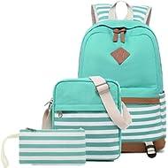 Abshoo Lightweight Canvas Stripe Backpacks for Girls Womens School Bookbags