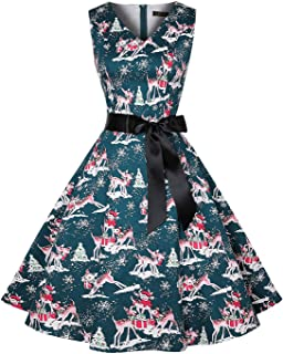 ihot Vintage Tea Dress 1950's Floral Spring Garden Retro Swing Prom Party Cocktail Christmas Party Dress for Women