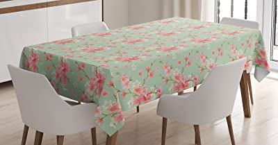 Round Tablecloth Shabby Chic Floral Birds Pink Green Asian Flowers Cotton Sateen