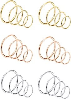 Thunaraz 24Pcs 20G Stainless Steel Nose Rings Hoop Septum Ring Tragus Cartilage Helix Piercing Lip Ring 6-12MM