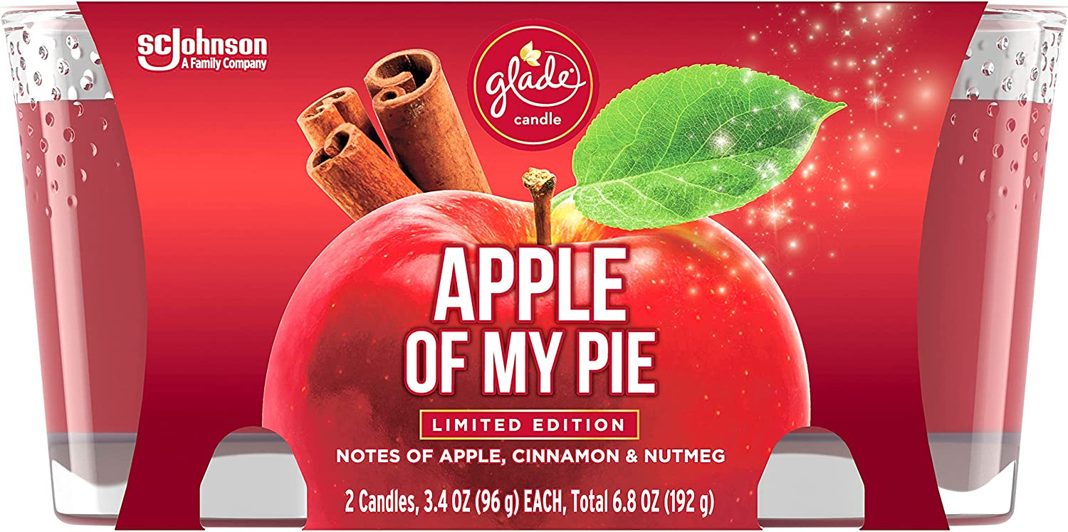 Glade Jar Candles, Fragrance Candles Infused with Essential Oils, Air Freshener Candles, Multiple Scents Available! (Apple of My Pie, 3.4oz- 2 Candles)