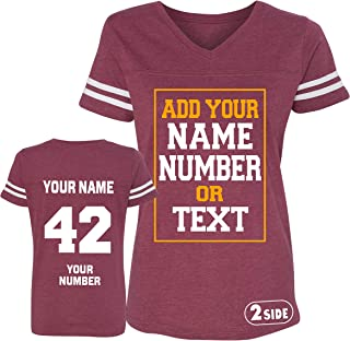 TEEAMORE Women Custom Jersey, Add Your Text, Design Your Own Front and Back Side