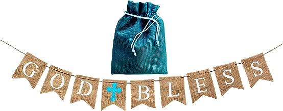 God Bless Baptism Banner,Holy Communion Party Christening Decoration Blue Cross-BOY, beautiful burlap decor,BONUS storage bag,handmade versatile usage,Natural 100% biodegradable Environment friendly