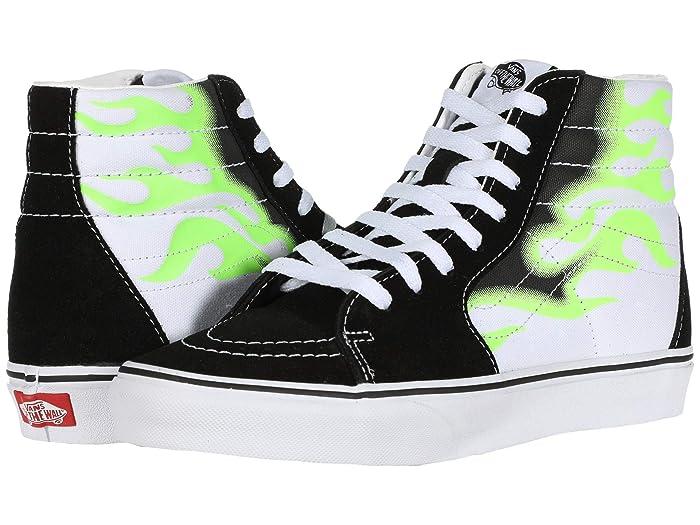 Mens Retro Shoes | Vintage Shoes & Boots Vans SK8-Hitm Flame BlackTrue White Skate Shoes $64.95 AT vintagedancer.com