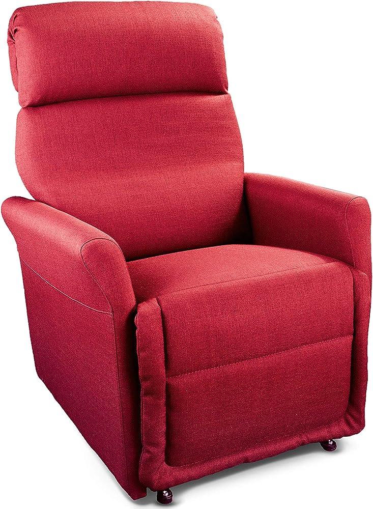 Goldflex, poltrona mod. ponza, relax alzapersona elettrica a 2 motori ,con reclinazione schiena/gambe. PR10AXXPOR2-ROSSO
