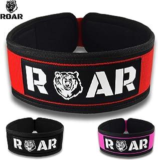 Roar® Cinturón Lumbar Gimnasio, Cinturon Gimnasio Hombre y Mujer, Cinturon Halterofilia, Powerlifting, Crossfit, Levantamiento Peso, Musculacion, Cinturon Gym Hombre, Cinturon Pesas