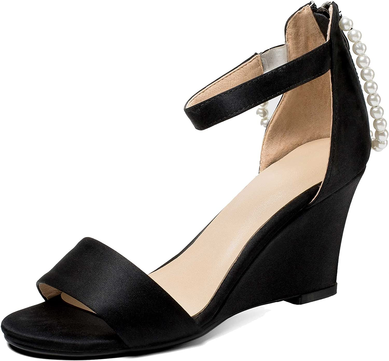 A-BUYBEA Women's 3.3  Wedge-Heeled Leather Sandal shoes with Fake-Pearls Black Green Size 4.5-7.5