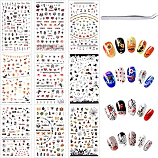Phogary Halloween Nail Art Stickers (500 pcs+ tweezers), Self-Adhesive 3D Nail Decals - Bats, Spider, Web, Witch, Evils, Red Eye, Pumpkin, Skull - Halloween Party Favors Decorations for Kids, Women